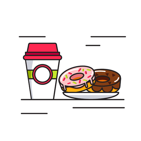 foodstuffs: Coffee and donuts icon. Funny illustration of a plastic cup with coffee and donuts in the linear, abstract style. Vector illustration. Illustration