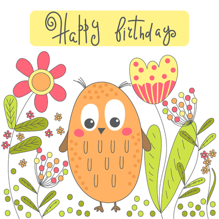 Birthday card with cartoon owl and flowers. Illustration