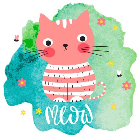 수채화 얼룩 배경에 귀여운 분홍색 고양이입니다.