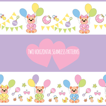 Two horizontal seamless patterns with baby-bear Illustration