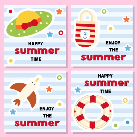 Set of funny pattern with summer vacation theme. Lifebuoy, hat, seagull bag on striped background. Vector illustration. Vektorové ilustrace