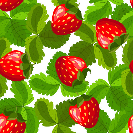 Seamless pattern with strawberry and leaves. Background for your design with bright, contrasting red berries and green leaves. Vector illustration.