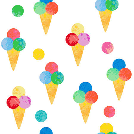 Seamless background with ice cream. Texture with sweet desserts. Perfect background for cloth, wallpaper, wrapping.