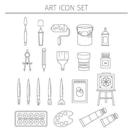 furnish: Drawing and painting tools with  palette pencils and brushes isolated vector illustration Illustration