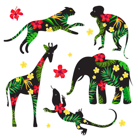 plant stand: Set silhouettes of wild animals with a tropical floral print. Decorative element. Monkey, leopard, elephant, giraffe, lizard. Clip art.