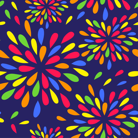 Seamless background with brightly colored drops like a spray or fireworks.Bright, funny background for textile, wrapping paper and other surfaces. Vector illustration.