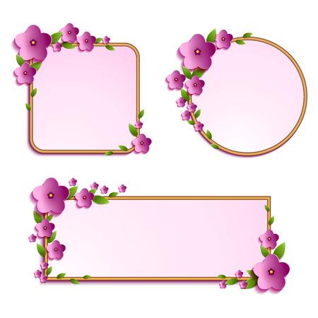美しい花と葉のフレームが装飾されています。あなたのデザインのテキスト テンプレートのフレーム。ベクトルの図。