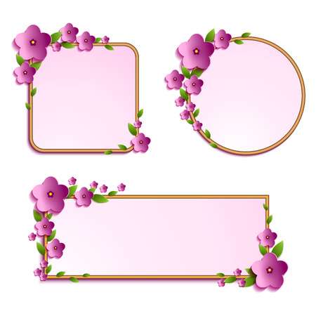 Set of frames decorated with beautiful volume flowers and leaves. Frame for your text template for your design. Vector illustration.