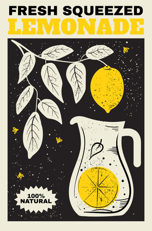 quality guarantee: Fresh Lemonade. Illustration of a pitcher of lemonade and a branch with lemons in the background. The poster, label, banner for your design.
