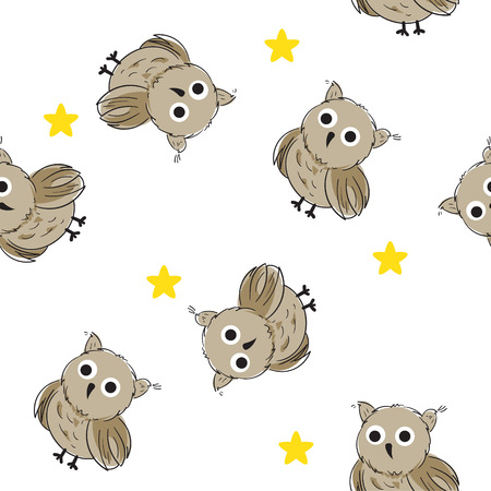 Seamless background with cute owls and stars.Vector illustration. Cloth design, wallpaper, wrapping.