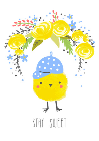 Cute creative cards template with funny chicken decorated with a bouquet of yellow flowers and an inscription stay sweet.Hand Drawn card for birthday, anniversary,  scrapbooking.