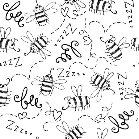 paper wasp: Seamless background with hand-drawn cute bees on a white background.  Monochrome fun background for your design. Vector illustration.