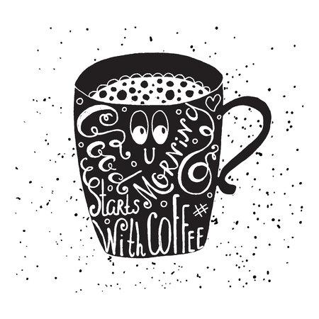 グッド モーニング コーヒーから始まります。楽しい引用、コーヒーのマグカップにレタリングをベクトルします。カフェ ポスター、カフェイン中