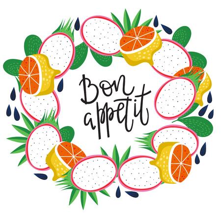 Fruit background in round shape and inscription- bon appetite. Vector illustration.