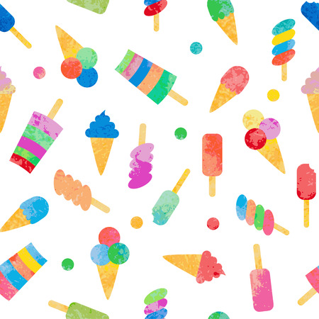 Cute seamless pattern with different types of ice cream. Texture with sweet desserts. Perfect background for cloth, wallpaper, wrapping.