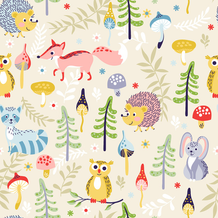Seamless pattern with cute cartoon forest animals and different plants on beige background. Vector illustration for children.