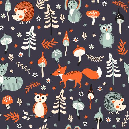 Naadloze achtergrond met schattige bosdieren, bomen en paddestoelen op donkerblauwe achtergrond. Vectorillustratie voor kinderen. Stock Illustratie