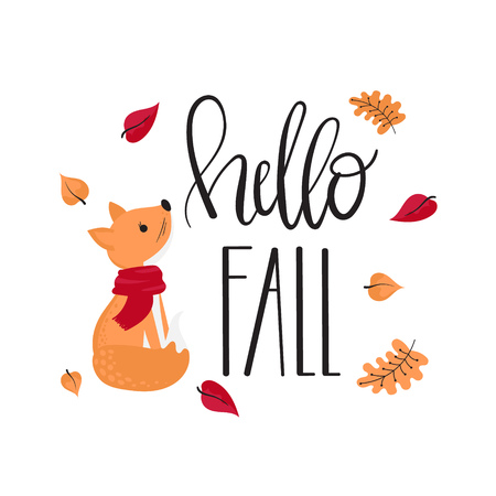 Hand drawn lettering  Hello fall . Card with decorative inscription, fox and autumn leaves, vector illustration.