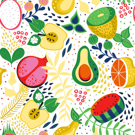 Seamless pattern with tropical fruits. Vector background. Bright summer fruits illustration.