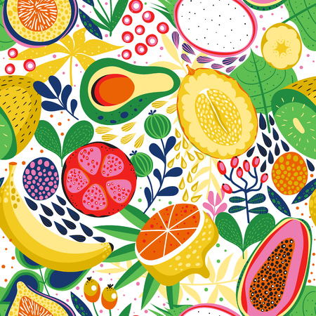 Seamless background with various tropical fruits on white. Vector fruit pattern. Vettoriali