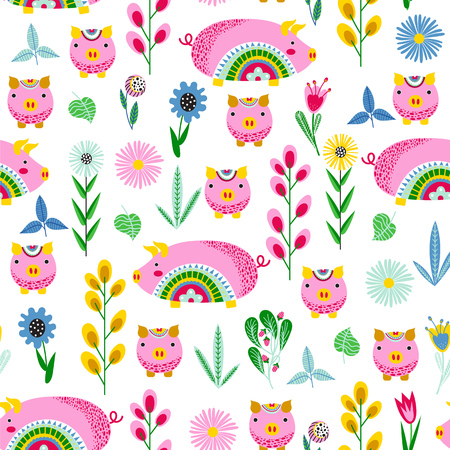 Seamless pattern with stylized pink pigs and flowers on a white background. Vector background.