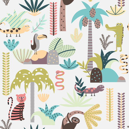 Seamless background with jungle plants and wild animals  in cartoon style. Children vector pattern. Vettoriali