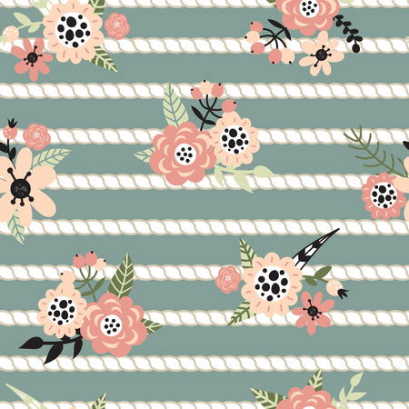 braided: Seamless pattern with strips of marine ropes and flowers on a green background. Vector illustration.