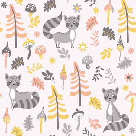 森のタヌキかわいいシームレス パターン。ベクトル イラスト漫画のスタイルで。