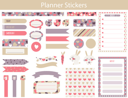 Planner stickers with cute hare, carrot and hearts In simple kids cartoon style. Weekly Planner pages. Illustration