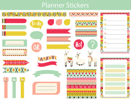 Collection of planner stickers with cute lama and the Aztec patterns In simple kids cartoon style. Weekly Planner pages. Illustration