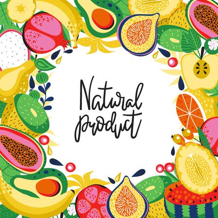Hintergrund mit verschiedenen Arten von tropischen Früchten und Inschrift - Naturprodukt . Vektor-Illustration Standard-Bild - 86537938