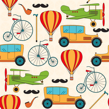 Seamless pattern with vintage vehicles and other retro characters. Background for your design. Vector illustration. Stock Illustratie