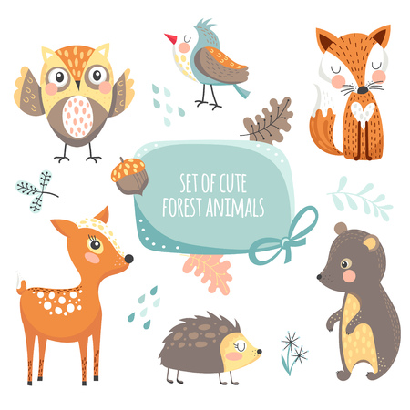 Forest animals collection Stock Illustratie