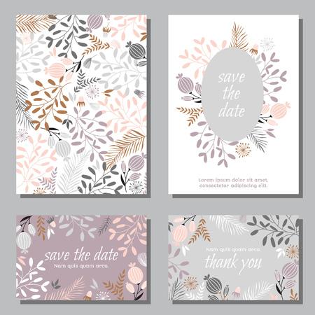 Plantilla de diseño de conjunto de invitación de boda vintage con hojas abstractas. Se puede utilizar para guardar la fecha, día de la madre, día de san valentín, tarjetas de cumpleaños, invitaciones. Foto de archivo - 87161190