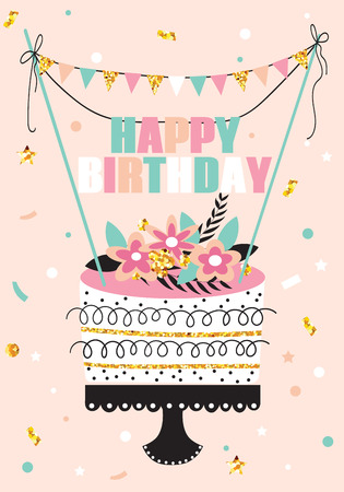 kids birthday party: Birthday background with cake, flowers, garlands confetti and  sparkles in vintage style. Illustration