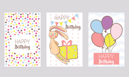 kids birthday party: Set of 3 childrens Birthday backgrounds with confetti, rabbit and balloons.