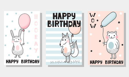 kids birthday party: Set of 3 childrens Birthday backgrounds with cute rabbit, fox and bear with balloons, and funny inscription Happy Birthday.