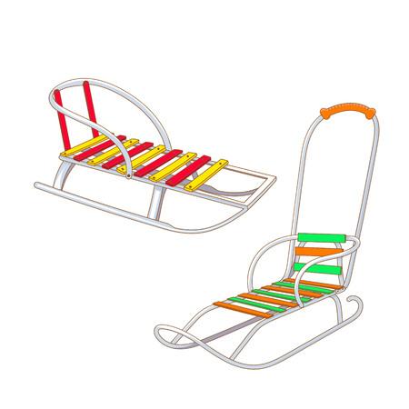 Set of different kinds of winter sled. Elements for your design. Vector illustration.