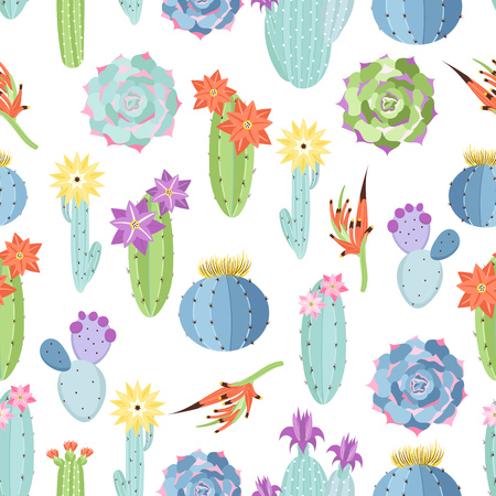 Vector floral seamless pattern with cactuses and succulents on a white background Stock Illustratie
