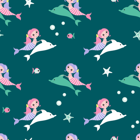 Seamless pattern with mermaid in a lilac suit and pink hair and a dolphin on a dark green background.