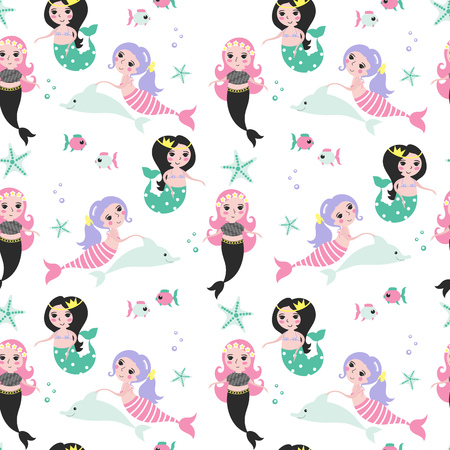 Seamless pattern with different cute mermaids, dolphin, fish and starfish on a white background.
