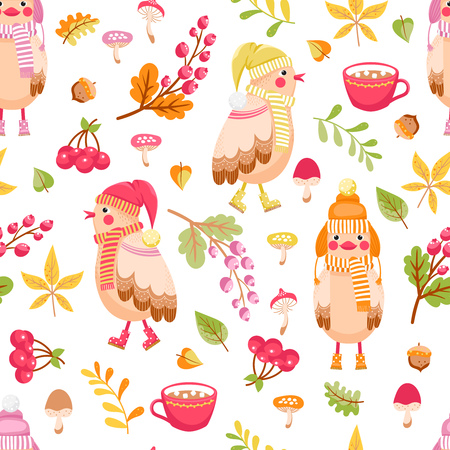 Seamless pattern with cute birds in hat and scarf and autumn plants. Autumn vector background for children.