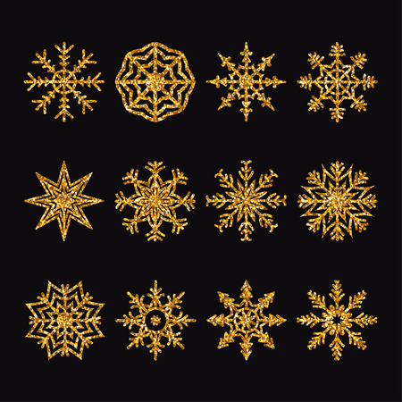 Set of gold glitter snowflakes of various kinds. Elements for decoration. Vector illustration.