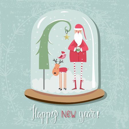 Snow globe with reindeer and Santa. Illustration