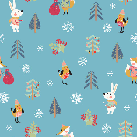 Christmas seamless patern with cute animals Illustration
