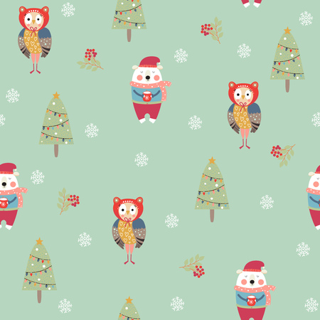Seamless pattern with cute owl and bear in Christmas time. Vector illustration.