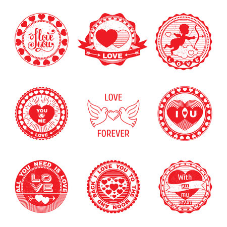 Set of love stamps. Perfect for Valentines Day greetings, invitations to weddings and other romantic collages.Isolated elements on a white background. Illustration