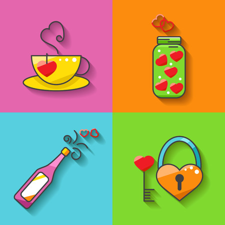 Valentines day icons elements collection. Illustration