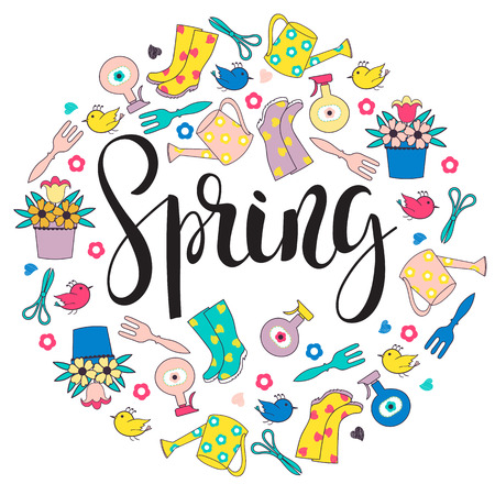 Lettering Spring with garden tools background.