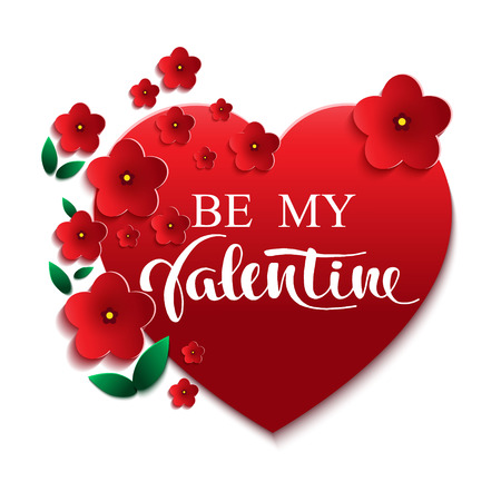 Be my Valentine greeting card with hearts and red flowers.Vector background for your design.